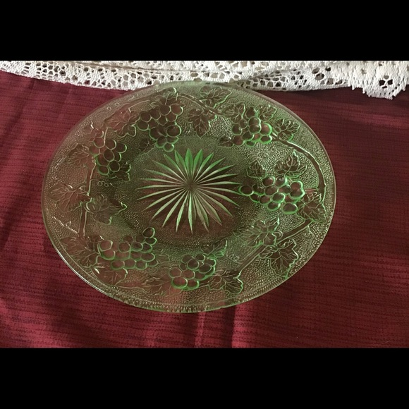 Vintage Green Depression Glass Plate Embossed 8.5""